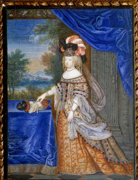 Portrait of Marie Therese of Austria in Polish costume (1638 - 1683) Queen of France. Swiss painting by Werner Joseph Le Jeune (1637- 1710), 1664. Gouache on parchment 0,13 x 0,10m. . - Full-length portrait of Maria Theresa of Spain in a Polish costume (1638-1683), Queen of France. Swiss Painting by Werner Joseph the Younger (1637-1710), 1664. Gouache on parchment. 0.13 x 0.10 m.