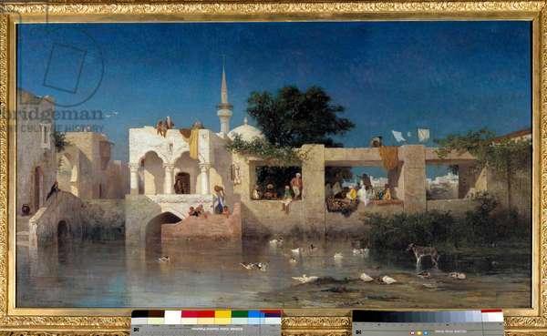 Cafe a Adalia, dit Habitations Turks near Adalia in Turkey Painting by Charles Torunemine (1812-1872) 1856 Sun. 0,69x1,24 m Paris, musee d'Orsay
