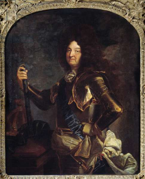 Portrait of the King of France Louis XIV (1638-1715), in armor Painting by Hyacinthe Rigaud (1659-1743) 18th century Sun. 2,21x1,3 m