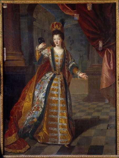 Presumptuous portrait of Mademoiselle de Nantes (Louise Francoise de Bourbon 1673-1743), daughter of Louis XIV and Francoise Athenais (Francoise-Athenais) by Rochechouart Mortemart, Marquise of Montespan (or Madame de Montespan) (1640-1707), in prom costume Painting by Pierre Gobert (1662-1744) 18th century ecle Sun. 1,29x0,97 m Paris, musee Carnavalet