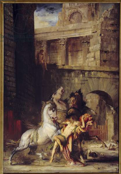Diomede Devore by His Horses Painting by Gustave Moreau (1826-1898) 1865 Sun. 1,38x0,84 m Rouen, Musee des Beaux Arts