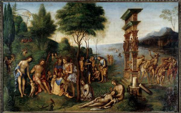 """The regne of Comus Comus, god of joyful feasts, draws from Philostrate's """"Imagines"""". On the left, the pleasures allowed separate from the pleasures forbidden. In the foreground, the story of the love of Dionysus and the Phrygian naiad Nikaia. Painting by Lorenzo Costa (1460-1535) originally commissioned by Andrea Mantegna. 1507. Sun 1,52x2,38 m"""