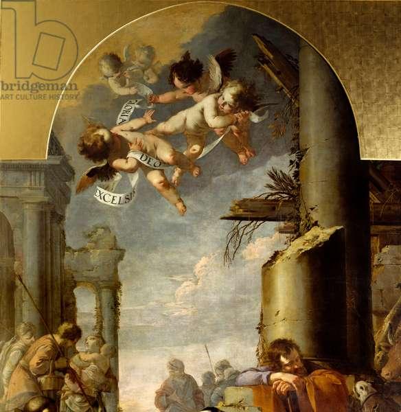 The Adoration of the Shepherds Detail representing the angels. Painting by Laurent de la Hyre (Laurent de la Hire, 1606-1656) 1635 Sun. 4,5x2,8 m Rouen, musee des Beaux Arts.