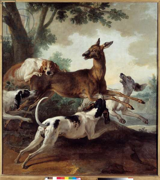 Deer chased by dogs. Hunting scene. Painting by Jean Baptiste Oudry (1686-1755), 1725. Oil on canvas. Dim: 1,71 X 0,26m. Rouen, Museum of Fine Arts