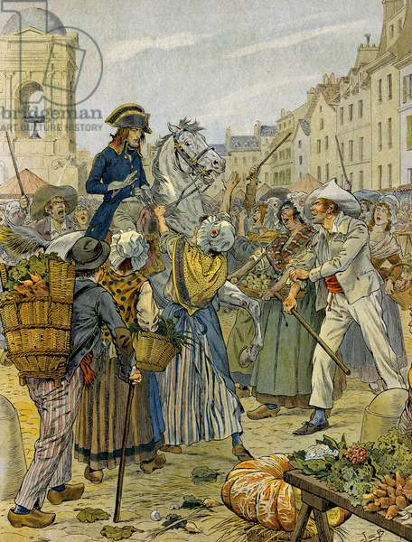 French Revolution 1789: Napoleon I Bonaparte (1769-1821) took sides by the revolutionary populace and without panties (without panties) in Les Halles. Illustration by Jacques Marie Gaston Onfray de Breville dit JOB (1858-1931). Private Collection