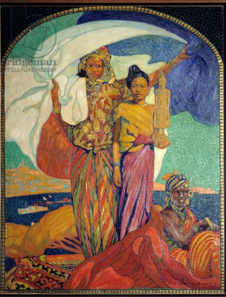 Colonialism: poster for the colonial national exhibition in Marseille. Poster by David Dellepiane (1866-1932). 1922 Marseille, Museum of the Marine