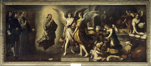 The cuisine of angels representation of the Franciscan monk Saint Diego d'Alcala (Didace or Didacus) in ecstasy, angels on the right are busy in the kitchen. Painting by Bartolome Esteban Murillo (1618-1682) 1646 Sun. 1,80 X 4,50 m