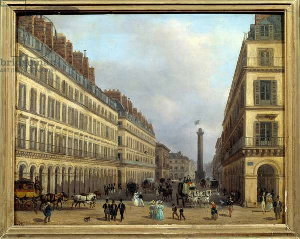 Rue Castiglione in Paris in 1829. Painting by Giuseppe Canella (1788-1847), 1829. Oil on cardboard. Dim: 0.17 x 0.23. Paris, Musee Carnavalet.
