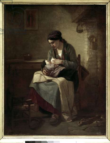Peasant breastfeeding Painting by Jean Francois Millet (1814-1875) 1845 Sun. 0,81x0,54 m Paris, Musee du Louvre.