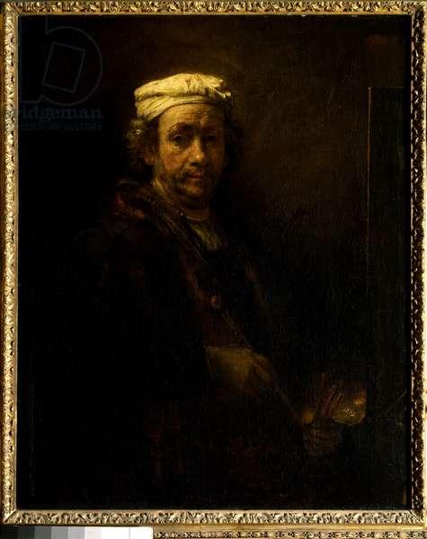 Self-portrait at the easel. Painting by Rembrandt Harmenszoon van Rijn dit Rembrandt (1606-1669) Ec. Hol., 1660. Dim: 1,11 X 0,90m. Paris, Musee Du Louvre