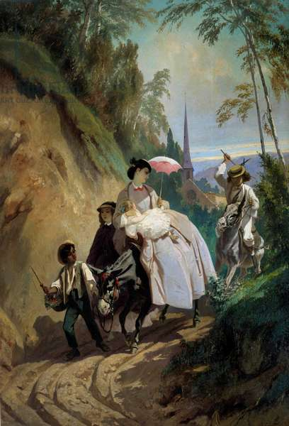Walk a donkey to Montmorency Painting by Eugene Giraud (1806-1881) 19th century Paris, Decorative Arts