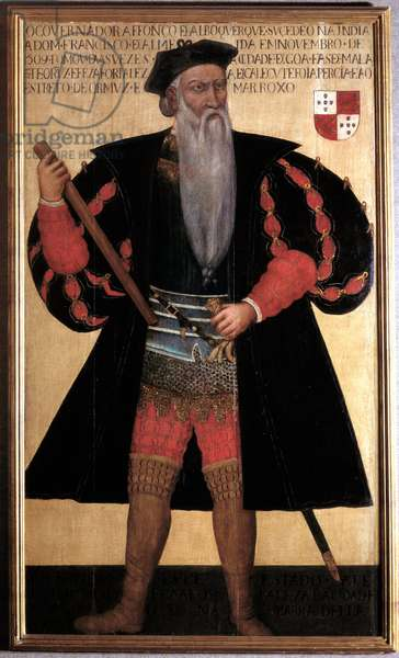 Alphonse (Alfonso or Afonso) de albuquerque (1453-1515) the great Portrait of the Portuguese navigator and explorer. 16th century painting. Lisbon, Musee National D'Art Antique - Alphonse (Alfonso or Afonso) of albuquerque (1453-1515) the Great. Portrait of the English navigator and explorer. Painting of the 16th century. National Museum of Ancient Art, Lisbon, Portugal