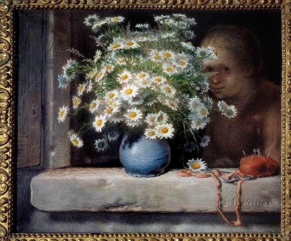 Le bouquet de daisies Pastel by Jean Francois Millet (1814-1875) 1871 Sun. 0,7x0,83 m Paris, musee d'Orsay