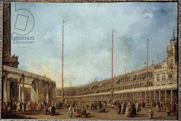 The Doge of Venice follows the procession of the Corpus domini piazza San Marco (St. Mark's Square) This is probably the Doge Alviso IV Mocenigo (1763-1778). Painting by Francesco Guardi (1712-1793) 1766-1770 Sun. 0,67x1m