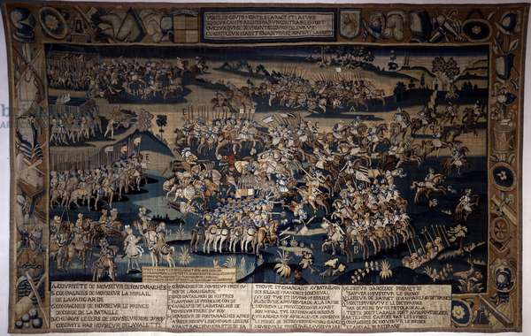 """War of Religions: """""""" The Battle of Jarnac, death of Louis I of Bourbon, Prince of Conde (Bourbon-Conde) (1530-1569)"""""""" It opposes on 13/03/1569 the Protestant army of the Prince of Conde to that of the King of France commanded by the Duke of Anjou. Tapestry of the 16th century. Ecouen, National Renaissance Museum"""