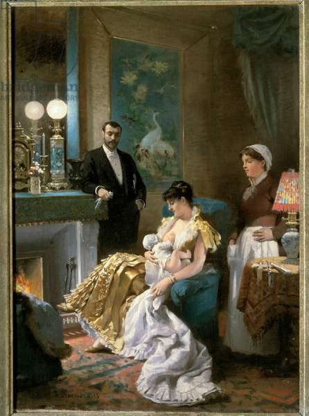 Before the prom A mother in evening dress feeds her baby into the breast before going out with her husband and leaving the baby to the maid. Painting by Edouard Debat Ponsan (1847-1913). 1886. Fine Arts Museum Tours