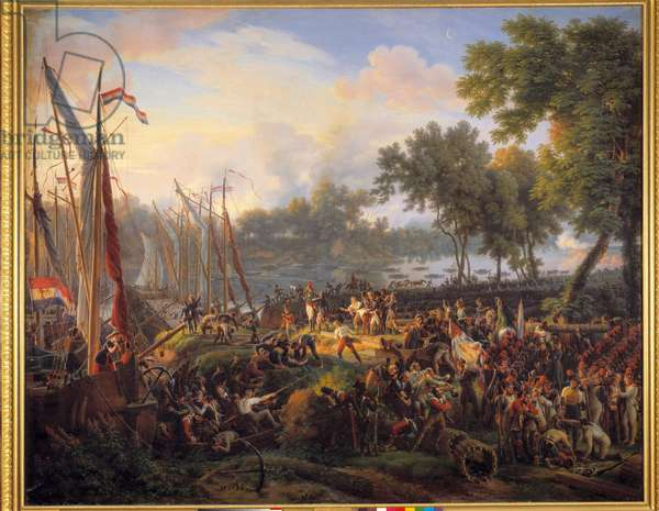 First passage of the Rhine by the French army commanded by Jourdan and Kleber, at Dusseldorf in the Duche of Berg, September 6, 1795 Painting by Louis Francois Lejeune (1775-1848) 1824 Dim. 2,1x2,5 m.
