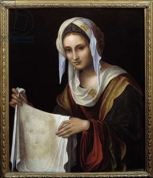 Saint Veronica. The Holy Veil represents the face of Christ whose sweat Veronique was said to have been sweaty during the climb to Calvary. Painting by Lorenzo Costa (1460-1535) Sun. 0,64x0,54 m