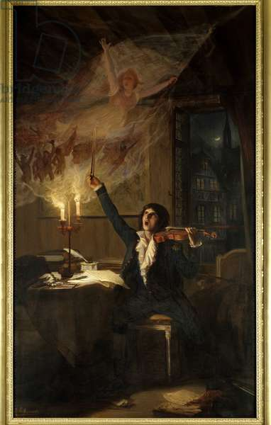 Claude Joseph Rouget de L'Isle composing the Marseillaise. Rouget de Lisle (1760-1836) officer of the French army and composer of La Marseillaise. Painting by Scherrer Jean Jacques (1855-1916). Choose the King.