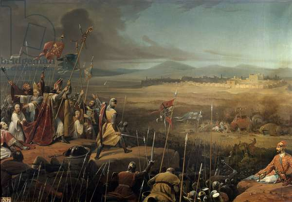 """First Crusade: """""""" Battle fought under the walls of Antioch between the crossings commanded by Bohemond (Bohemond of Taranto or Hauteville or Bohemond I of Antioch the Great 1054-1111) and the army of Karbouka (= Kerbogha died 1102), general of the sultan of Persia - The eveque Adhemar of Monteil (-1098) brandit the """""""" holy spear"""""""" - June 1098"""""""", Painting by Frederic Schopin (1804-1880) 19th century Sun. 0.97 x 1.37 m. Versailles. Chateau Museum"""