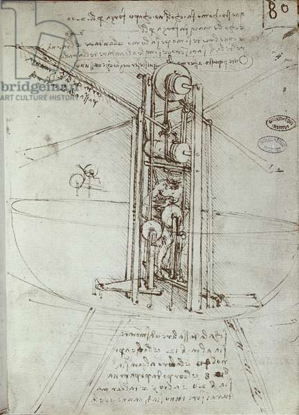 Drawing of flying propulsion machine. Manuscript by Leonard De Vinci (Leonardo da Vinci, 1452-1519), 16th century. Paris, Library of the Institute