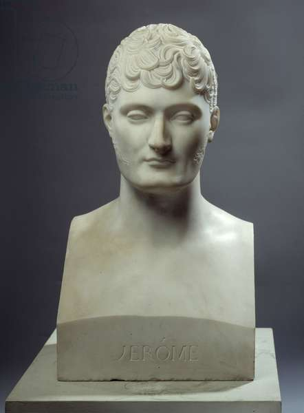 Marble bust by Jerome Bonaparte, King of Westphalia (1784-1860) represented in hermes in 1809 Realised by Lorenzo Bartolini (1777-1850) after Joseph Chinard (1756-1813) 1809 around Versailles, musee du chateau