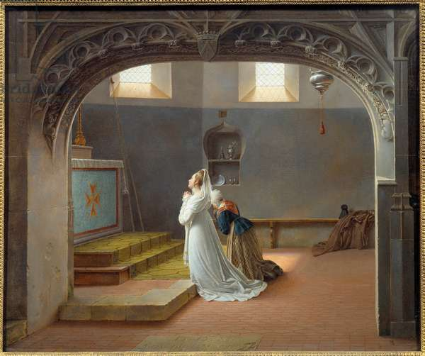 Mademoiselle d'Arjuzon praying for the recovery of her sick mother  1814