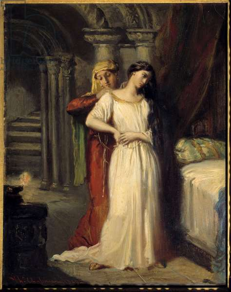 """Desdemone's bedtime Illustration for act IV of the piece """""""" Othello"""""""" by William Shakespeare (1564-1616). 1849 Sun. 0,42x0,32 m"""