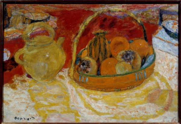 Yellow and red still life. Painting by Pierre Bonnard (1867-1947), 1931. Grenoble, Musee des Beaux Arts.