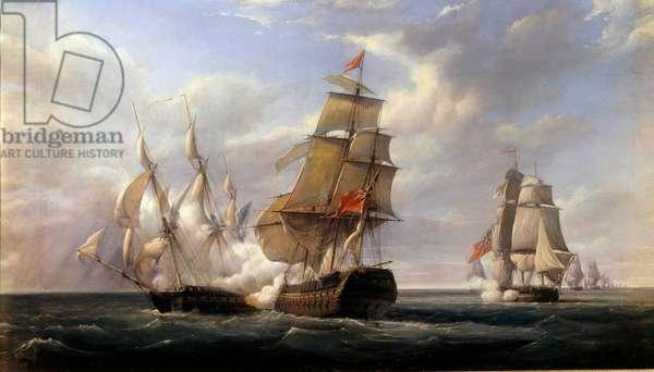 "Battle of the French frigate La Canonniere"""" against the English ship """" Le Tremendous"""" le 21/04/1806"""" Painting by Pierre Gilbert (1783-1860) 1832 Sun. 0,93x1,71 m"