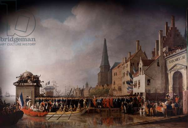 Entrance of Napoleon Bonaparte (1769-1821) and Josephine de Beauharnais (1763-1814) in Antwerp the 18/07/1803 Painting by Mathieu Ignace Van Bree (1773-1839), 1807 Sun. 3,72x6,10 m Versailles, musee du chateau