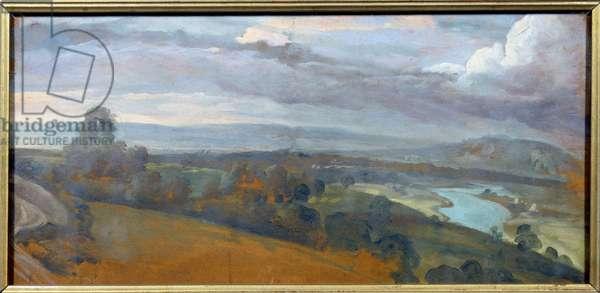 Landscape scenery. Painting by Francois Desportes (1661-1743), 18th century. Oil on paper. Dim: 0,26 x 0,54m. Sevres, Porcelain Manufacture