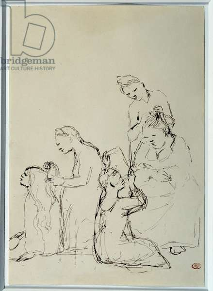 Saltimbanks, women hairdressing. Drawing by Pablo Picasso (1881-1973), 1905. Black pen and ink. Dim: 0.25 x 0.17m. Paris, Musee Picasso.