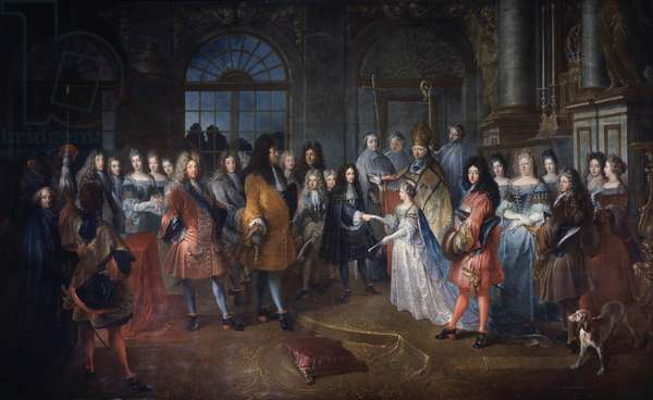 Marriage of Louis de France Duke of Burgundy and Marie Adelaide of Savoy on 7/12/1697 The ceremony takes place in the presence of King Louis XIV (1638-1715) in the center. The young marrying are blessed by Cardinal de Coislin. Painting by Antoine Dieu (1662-1727) Sun. 3,43x5,78 m  - Marriage of Louis of France, Duke of Burgundy to Princess Marie Adelaide of Savoy at Versailles on 7 December 1697; present is the King Louis XIV (1638-1715) in the center. The young married couple receive the blessing of Cardinal de Coislin. Painting by Antoine Dieu (1662-1727). 3.43 x 5.78 m.