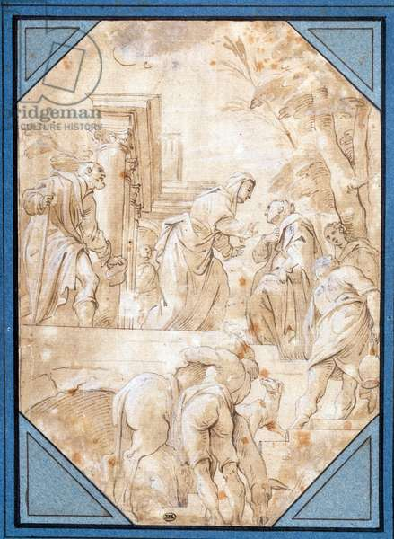 La Visitation Drawing by Carlo Bononi (1569-1632) Sun. 0,22 x 0,15 m Paris.