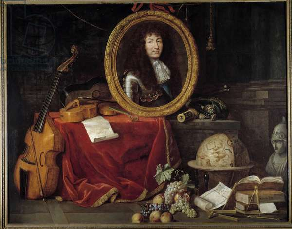 Portrait of Louis XIV King of France (1638-1715), Protector of Arts and Sciences The portrait of the king is surrounded by musical instruments (viola de gamba, violin guitar) and scientific instruments (square, celestial globe, compas). Painting by Jean Garnier (1632-1705) 17th century. Dim 1,74 x 2,23 m Versailles, musee du chateau