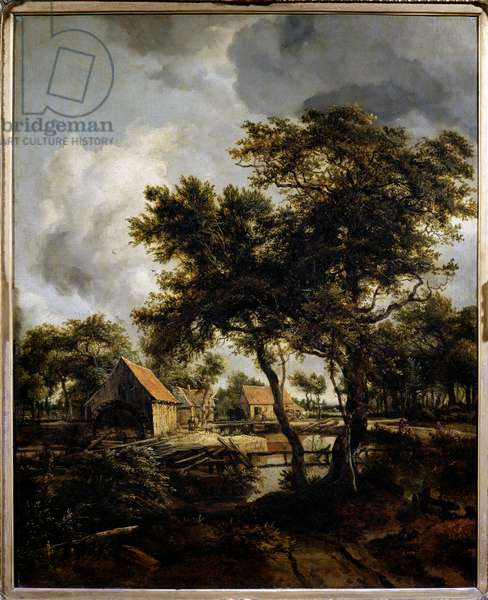 The water mill Painting by Meindert Hobbema (1638-1709) (ec.flam.) 17th century Sun. 0,8x0,66 m Paris, Musee du Louvre.