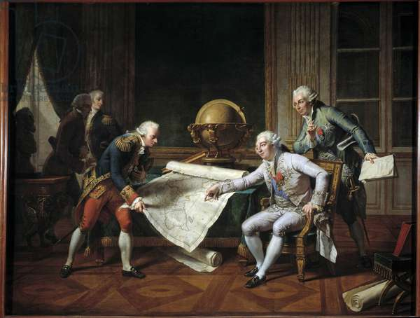 The King of France Louis XVI (1754-1793) giving instructions to Captain Jean-Francois Galaup, Earl of La Perouse (Jean Francois Laperouse, 1741-1788) for his voyage of exploration around the world, in the presence of the Marquis de Castries, Minister of Marine, 29 June 1785 Painting by Nicolas Monsiau (1754-1837) 182,17 Sun. 2,72x17 27 m.  - The King of France Louis XVI (1754-1793) giving to the navy officer, Jean-Francois de Galaup, Comte de La Perouse (Jean Francois Laperouse, 1741-1788) his instructions for his exploration around the world, in the presence of the Marquis de Castries, Minister of the Marine, 29 June 1785. Painting by Nicolas Monsiau (1754-1837,) 1817. 2.72 x 2.27 m.