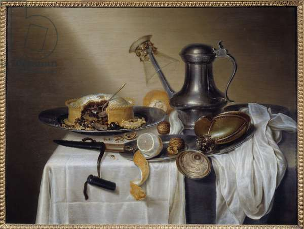 Still Life with Pate Pate with Lemon and Pewter Carafe. Painting by Maerten Boelema de Stomme (1611-1664) 17th century Sun. 0,6x0,79 m Nantes, Musee des Beaux Arts