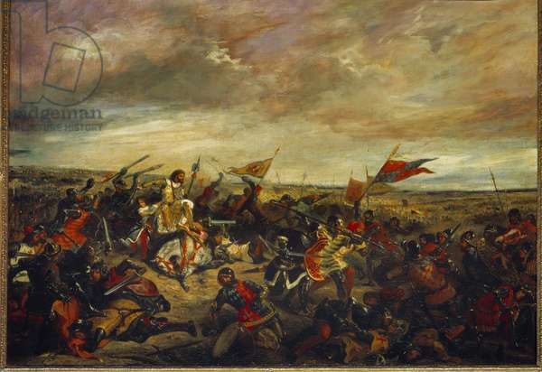 Battle of Poitiers or King John II Le Bon at the Battle of Poitiers on September 19, 1356. Painting by Eugene Delacroix (1798-1863), 1830. Oil on canvas. Dim: 1,14 x 1,46m.