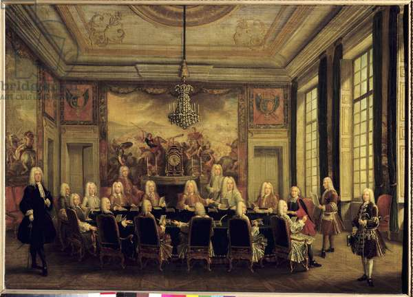 The Council of Regency for the Minority of Louis XV (1710-74), 16th September 1715, 18th century (oil on canvas)