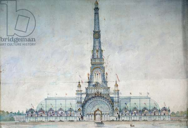Projet refuses to modify the Eiffel Tower for the 1889 exhibition by Gustave Raulin (French architect). Engraving from 1886. Paris, National Archives