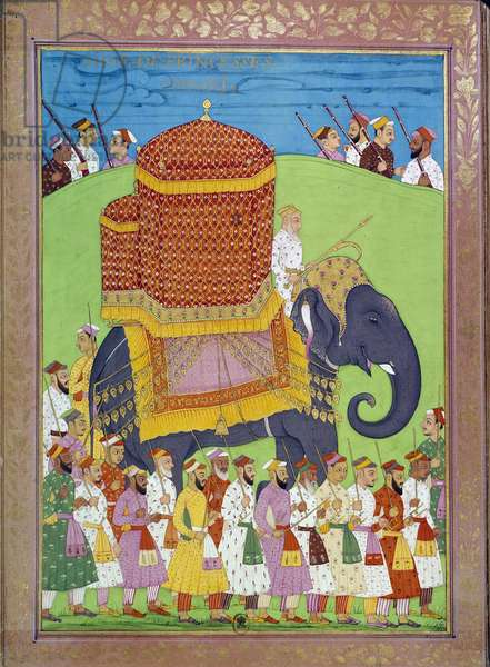 "Princess Palanquin on an elephant at the court of Shah Alem Indian and Persian miniatures in """" History of India from Tamertante to Orangreyb"""" by Niccolo Manucci (1638-1717). B.N., Paris."