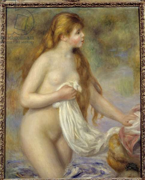 Long Hair Bather Painting by Pierre Auguste Renoir (1841-1919), 1895. Sun 0,65x0,8 m Musee d'Orsay, Paris