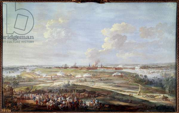 View of the siege of Menin by Louis XV from 28 May to 4 June 1744 Painting a gouache by Louis Nicolas Van Blarenberghe (1716-1794) 1780 Sun. 0,59 x 0,94 m Versailles, musee du chateau
