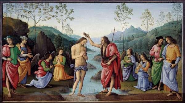 The baptism of Christ Painting by Pietro Vannucci dit il Perugino (Perugin, 1446 - 1523) 16th century Sun. 0,31x0,59 ml Rouen, Museum of Fine Arts - The Baptim of Christ. Painting by Pietro Vannucci Perugino called Il Perugino (The Perugin, 1446-1523), 16th century. 0.31 x 0.59 m. Beaux-Arts Museum, Rouen