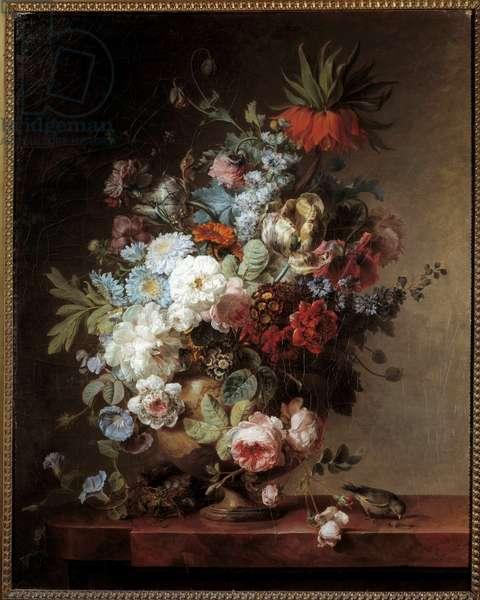 Still Life with Flowers Painting by Corneille Van Spaendonck (1756-1840) 1789 Sun. 0,91x0,73 m Paris, Musee du Louvre