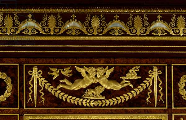 Furniture: details of the wardrobe greenhouse jewels of the Impress Josephine de Beauharnais (Marie-Joseph-Rose de Tascher de la Pagerie) (Marie Joseph Rose) (1763-1814) made of wood, gilded bronze by Francois Jacob-Desmalter (Jacob Desmalter) (1770-1841) 1809 Paris, musee du Louvre