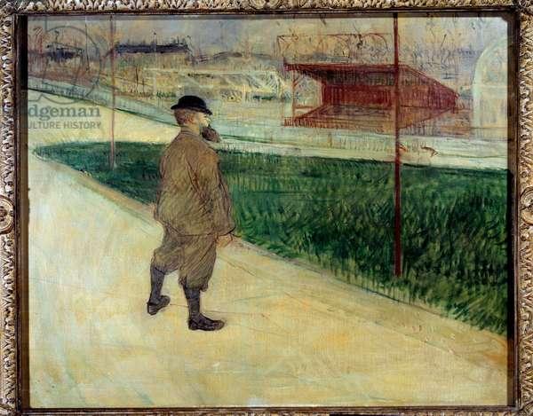 Writer Paul Tristan says Tristan Bernard at the velodrome Buffalo Painting by Henri de Toulouse Lautrec (1864-1901), 1895 Sun. 0,64x0,81 m Private collection