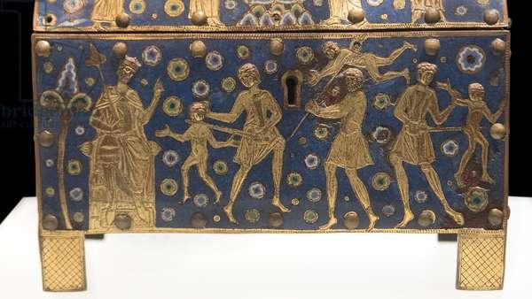 Art France Chasse: Massacre des Innocents, Presentation at the temple (copper, gilding, email champleve, provenance Limoges, ca. 1190 - 1210)